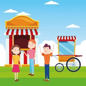 Karikaturmädchen und -junge am ticketschalter und popcornwagen über landschaft