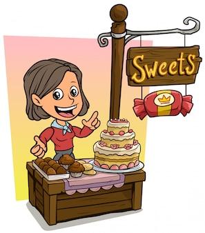 Karikaturmädchencharakter und hölzerner süßwarenladen