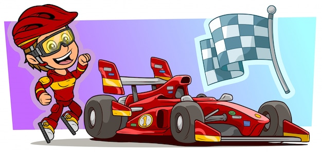 Karikaturmädchenfigur mit modernem rotem sportwagen