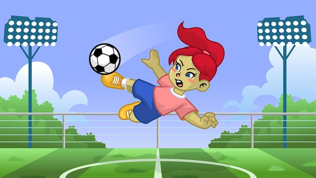 Karikaturmädchenfußballspieler, der den ball tritt