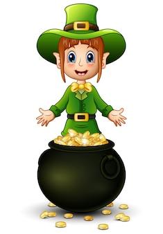 Karikaturmädchenkobold, der mit einem goldschatzmünzen sich darstellt