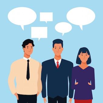 Karikaturmänner und -frau mit spracheblasen