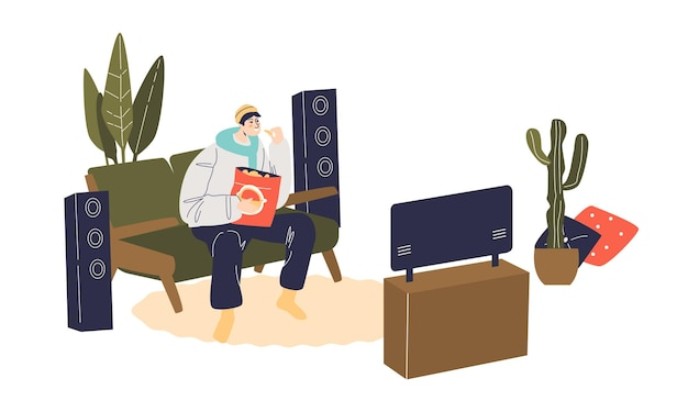 Karikaturmann, der auf trainer sitzt und mit snacks fernsieht
