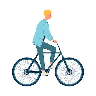 Karikaturmann, der ein fahrrad auf weiß reitet. glücklicher junger mann während der freizeitbeschäftigung auf einem fahrrad