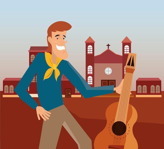 Karikaturmann, der eine gitarre über stadthintergrund hält