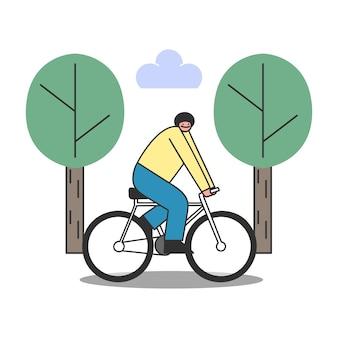 Karikaturmann, der fahrrad fährt. männchen auf fahrradfahren im park für morgenübung oder zum arbeitsplatz. guy radfahrer ausbildung