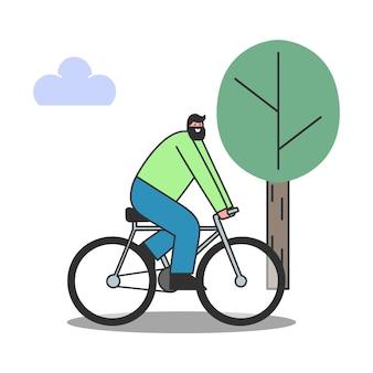 Karikaturmann, der fahrrad über bäumen reitet. lächelnder mann auf dem fahrrad. gesunder lebensstil und transportkonzept