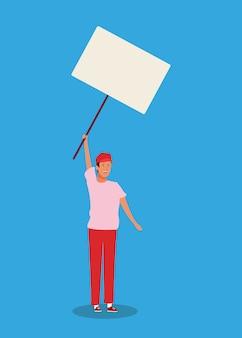 Karikaturmann, der mit leerem plakat steht