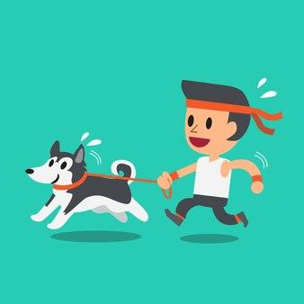 Karikaturmann, der mit seinem hund des sibirischen huskys läuft