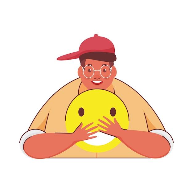 Karikaturmann, der smiley emoji auf weißem hintergrund hält.