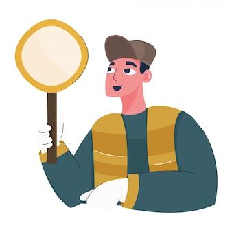 Karikaturmann, der vergrößerungsglas auf weißem hintergrund hält.