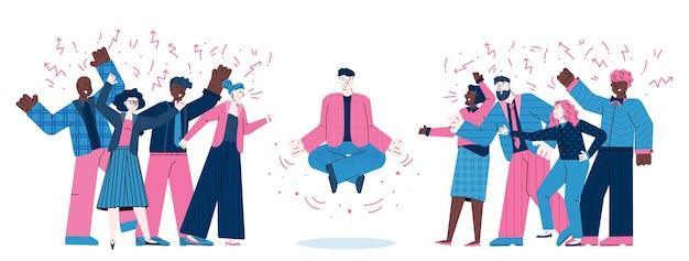 Karikaturmann in meditationsyogahaltung unter wütenden schreienden leuten