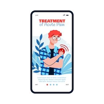 Karikaturmann mit akuten schulterschmerzen - gesundheits-app, die bannerschablone auf telefonbildschirm einbindet. person mit armverletzung oder krankheit, die schmerzhaften roten fleck berührt, illustration.