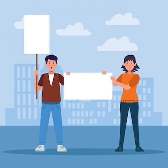 Karikaturmann und -frau, die ein leeres zeichen über städtischen stadtgebäuden halten