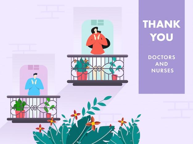 Karikaturmann und -frau klatschen, um ärzte und krankenschwestern vom balkon mit dankeschön auf lila hintergrund der natur zu schätzen.