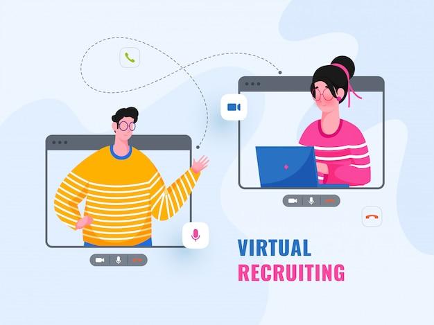 Karikaturmann und -frau nehmen video, das sich auf blauem hintergrund für virtuelle rekrutierung anruft.
