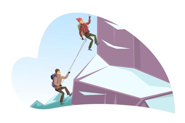 Karikaturmann- und -frauenfiguren klettern auf klippe, die mit schnee bedeckt wird