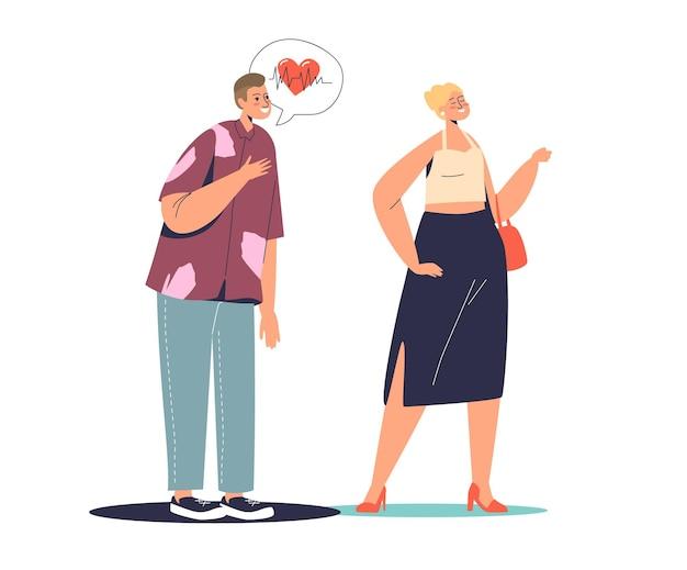 Karikaturmann verliebt in schöne frau. zuneigungs- und herzschlagkonzept. emotionale romantische gefühle und herzschlag.