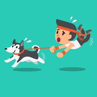 Karikaturmann zog durch seinen sibirischen huskyhund