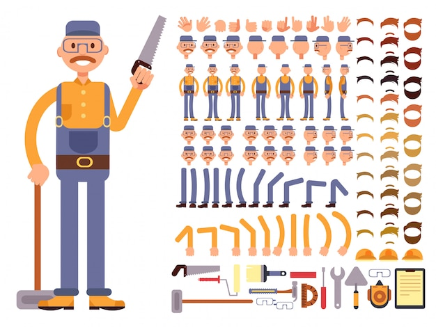 Karikaturmannbauarbeiter im overallvektorcharakter mit großem satz körperteilen