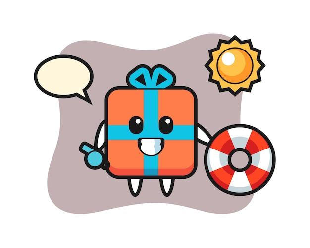 Karikaturmaskottchen der geschenkbox als strandwächter