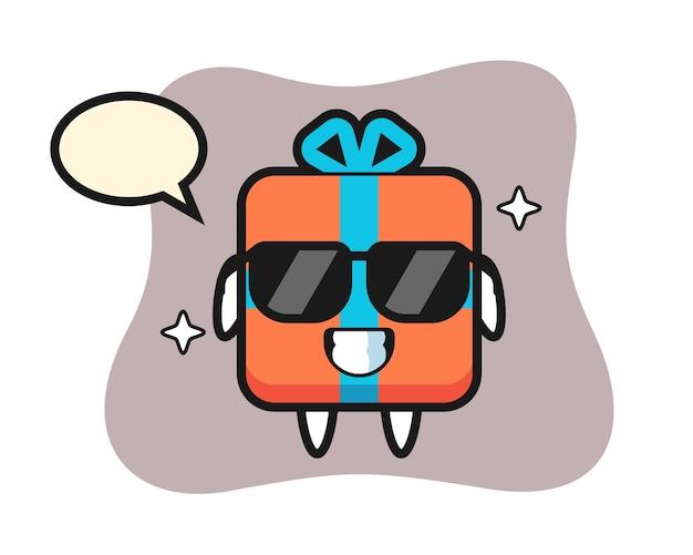 Karikaturmaskottchen der geschenkbox mit kühler geste
