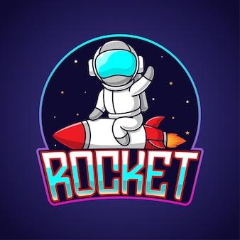 Karikaturmaskottchenastronaut, der eine rakete reitet