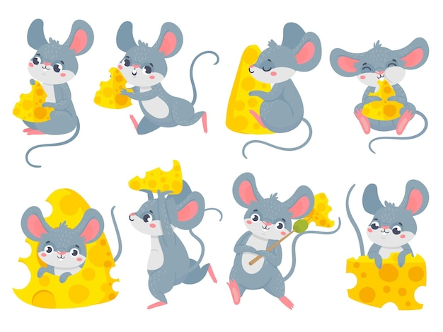 Karikaturmaus mit käse. niedliche kleine mäuse, lustiges mausmaskottchen und mäuse stehlen käsevektorsatz. sammlung von glücklichen nagetieren, die snacks essen. bündel von kleinen entzückenden freudigen tieren mit nahrung.