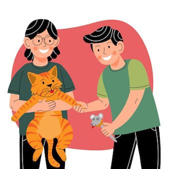 Karikaturmenschen mit katz und maus