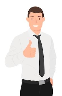 Karikaturmenschencharakter entwerfen hübsches geschäft, das daumen hoch ok-zeichen zeigt. ideal für print- und webdesign.