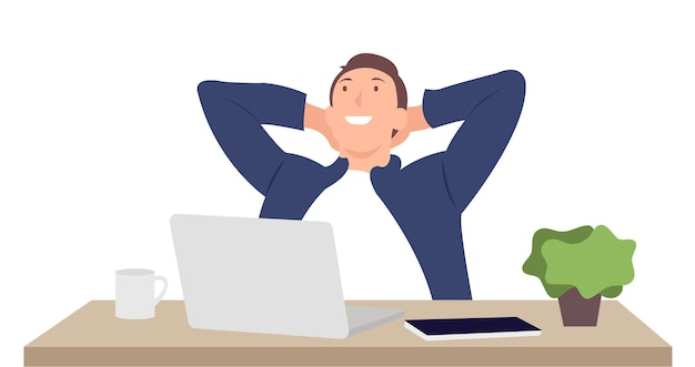 Karikaturmenschencharakter entwirft glücklichen jungen mann, der am laptop arbeitet, der vor dem schreibtisch sitzt. ideal für print- und webdesign.