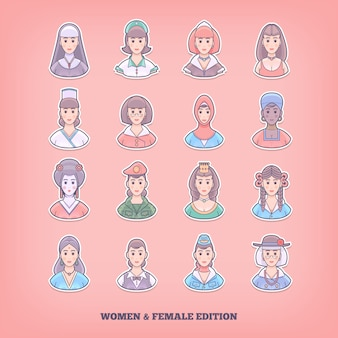 Karikaturmenschenikonen. frau, mädchen, weibliche elemente. konzeptillustration.