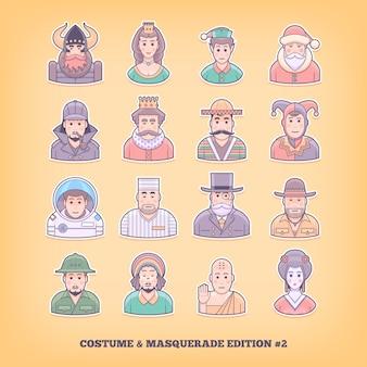 Karikaturmenschenikonen. kostümspiel, uniform, maskerade anzugelemente. konzeptillustration.