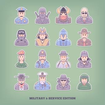 Karikaturmenschenikonen. militär- und durchsetzungselemente. konzeptillustration.
