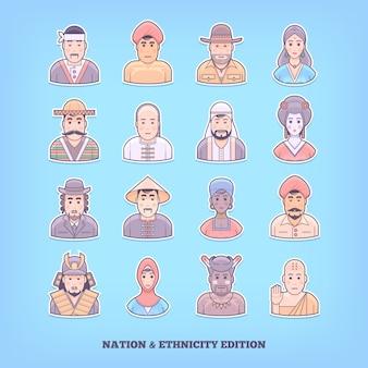 Karikaturmenschenikonen. nation, rasse, ethnische elemente. konzeptillustration.