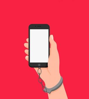Karikaturmenschliche hand in handschellen halten smartphone mit weißem leerem bildschirm lokalisiert auf rot