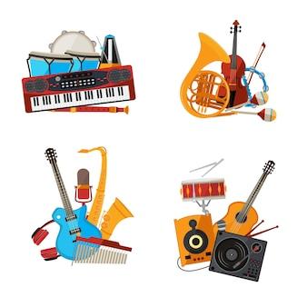 Karikaturmusikinstrumentenstapelsätze lokalisiert auf weißer hintergrundillustration.