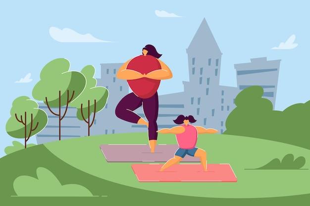 Karikaturmutter und -tochter, die familientraining im park tun