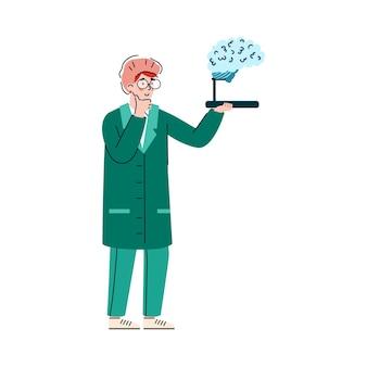 Karikaturneurologe arzt, der gehirnmodellmedizinmann betrachtet