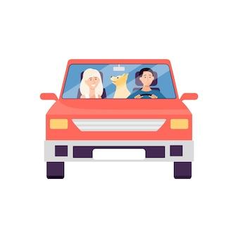Karikaturpaar, das im roten auto mit haustierhund sitzt - vorderansicht des mannes, der frau und des tieres auf roadtrip lokalisiert auf weißem hintergrund.