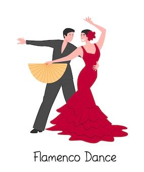 Karikaturpaar tanzt spanischen flamenco