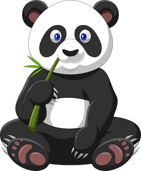 Karikaturpanda, der bambus isst
