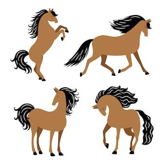 Karikaturpferd in verschiedenen posen lokalisiert auf weißem hintergrund