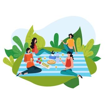 Karikaturpicknickkonzept, glückliche leute auf sommererholungsaktivitätenillustration