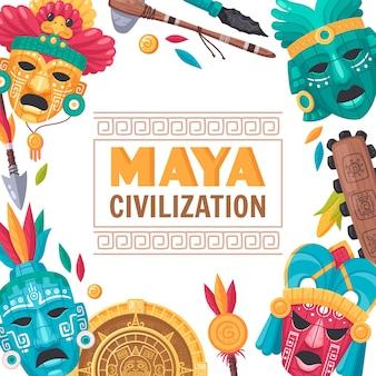 Karikaturplakat der maya-zivilisation mit illustration der nationalen kultursymbole