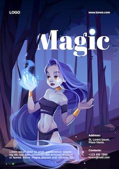 Karikaturplakat mit magischer frau, nymphe, die auf zaubererfeuer auf hand schaut. wunderschöne hexen tragen lendenschurz und oberteil, eingewickelt in langes haar und bewundern nachts die magisch funkelnde flamme