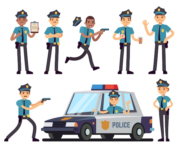 Karikaturpolizistin und polizistcharaktere im einheitlichen vektorsatz der polizei