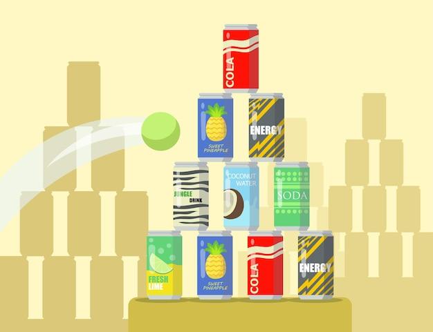 Karikaturpyramide der flachen illustration der limonadendosen. tennisball fliegt in die pyramide verschiedener dosengetränke, die auf vitrine angezeigt werden