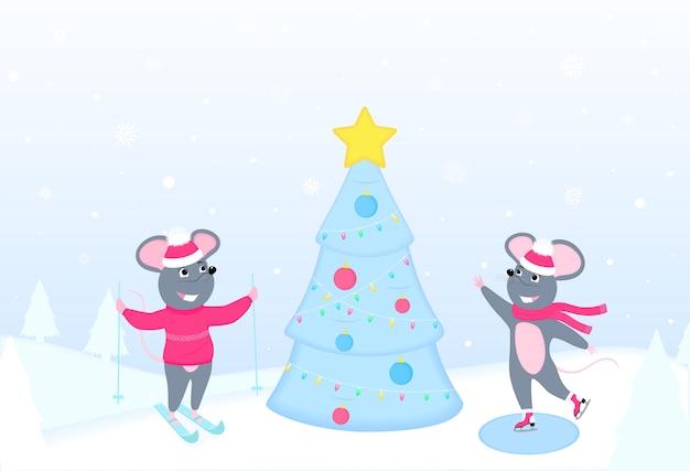Karikaturratten, die nahe dem weihnachtsbaum skaten und ski fahren. winterspaß. neujahr. Premium Vektoren