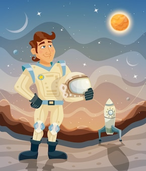 Karikaturraumthemaillustration mit einem astronauten